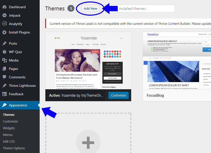Click on Appearance » Theme » Add New